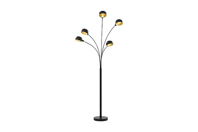 Golvlampa 200 cm 5xE14 svart och guld - Svart - Belysning - Inomhusbelysning & Lampor - Golvlampa
