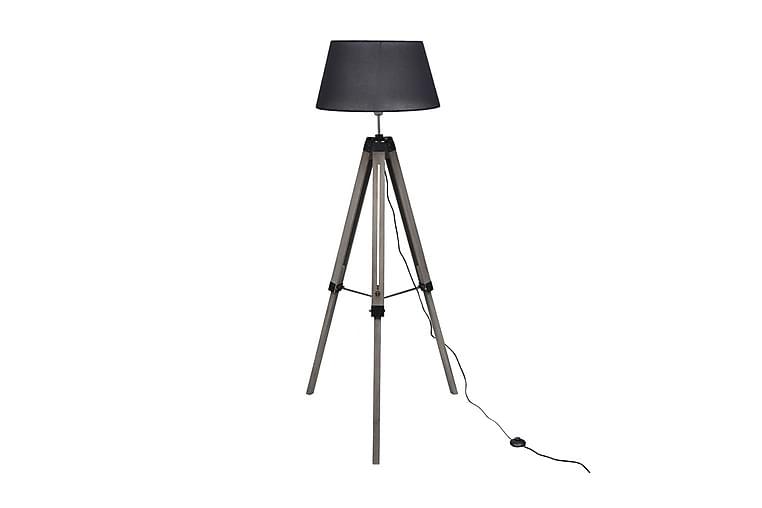 Golvlampa med tygskärm på justerbart trästativ svart - Svart - Belysning - Inomhusbelysning & Lampor - Golvlampa