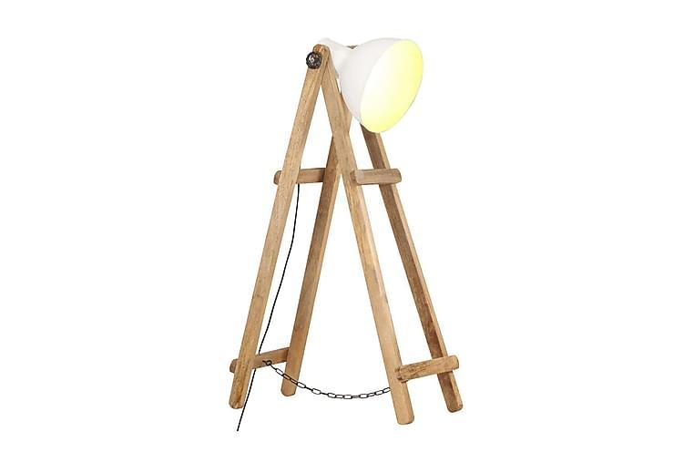 Golvlampa vit E27 massivt mangoträ - Vit - Belysning - Inomhusbelysning & Lampor - Golvlampa