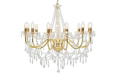 Takkrona med pärlor guld 12 x E14-glödlampor