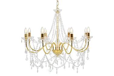 Takkrona med pärlor guld 8 x E14-glödlampor