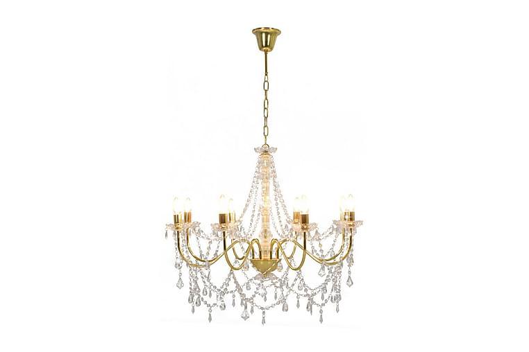 Takkrona med pärlor guld 8xE14-glödlampor - Guld - Belysning - Inomhusbelysning & Lampor - Kristallkrona & takkrona
