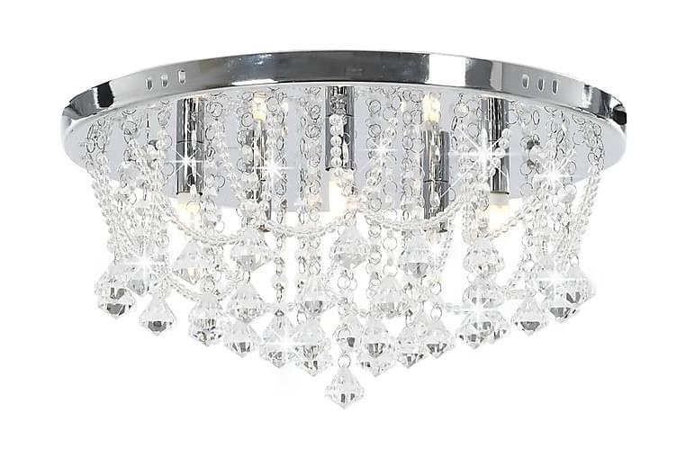 Taklampa med kristallpärlor silver rund 4xG9-lampor - Silver - Belysning - Inomhusbelysning & Lampor - Kristallkrona & takkrona