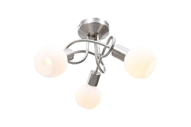 Taklampa med keramikskärmar för 3 E14-lampor vit klot - Vit - Belysning - Inomhusbelysning & Lampor - Taklampa