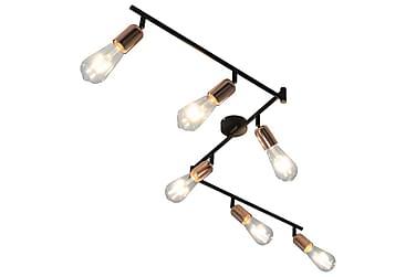 Spotlight med 6 st lampor svart och koppar 30 cm E27