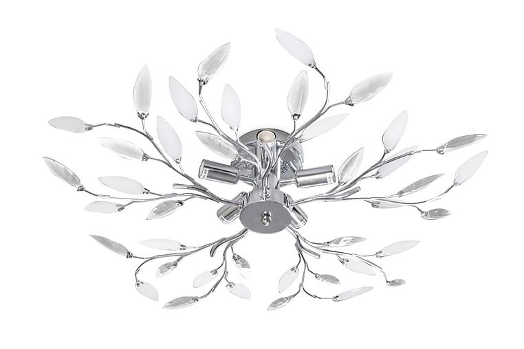 Taklampa 5-armad E14 med kristallöv vit/transparent - Vit - Belysning - Inomhusbelysning & Lampor - Taklampa