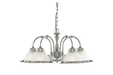 Taklampa American Diner 5L Satin Silver/Glas