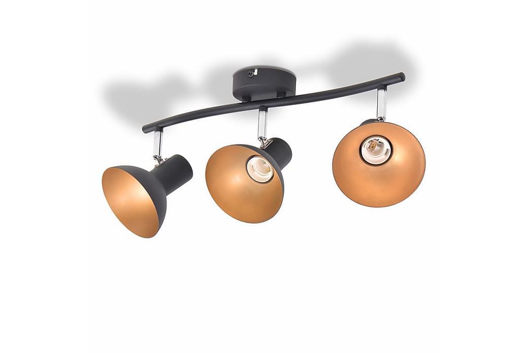 Taklampa för 3 lampor E27 svart och guld - Flerfärgad - Belysning - Inomhusbelysning & Lampor - Taklampa