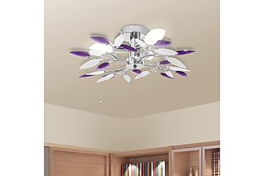 Taklampa med kristallöv i vitt & lila för 3 glödlampor E14