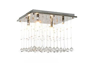 Taklampa med kristallpärlor silver kub G9