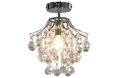Taklampa med kristallpärlor silver rund E14