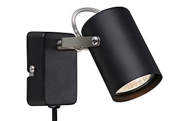 Vägglampa Key Svart/Stål