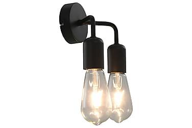 Vägglampa med glödlampor 2 W svart E27
