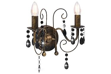 Vägglampa med pärlor antik svart 2 x E14-glödlampor