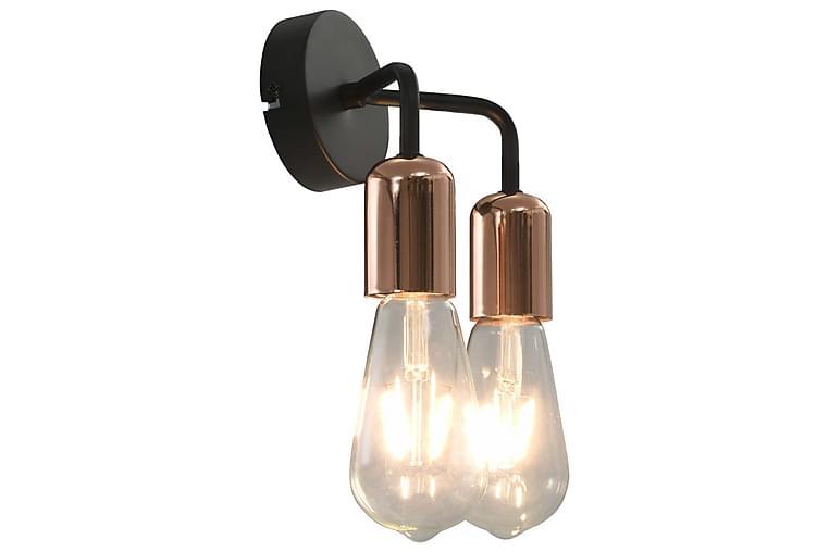 Vägglampa svart och koppar E27 - Svart - Belysning - Inomhusbelysning & Lampor - Vägglampa