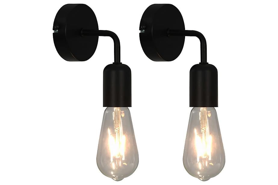 Vägglampor 2 st med glödlampor 2 W svart E27