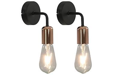 Vägglampor 2 st svart och koppar E27