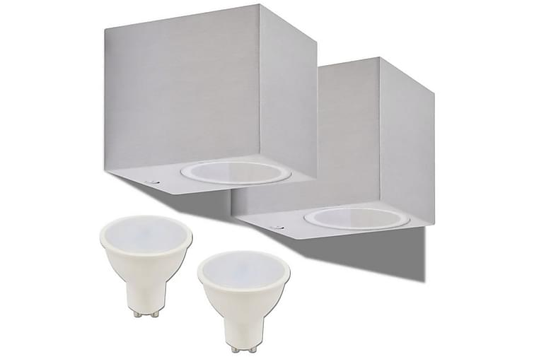 Utomhusvägglampa LED 2 st fyrkantiga nedåt - Silver - Belysning - Utomhusbelysning - Fasadbelysning