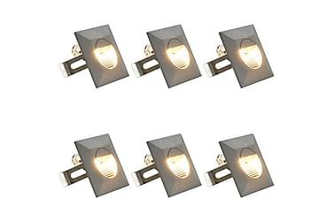 Utomhusvägglampa LED 6 st 5 W silver fyrkantig