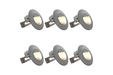 Utomhusvägglampa LED 6 st 5 W silver rund