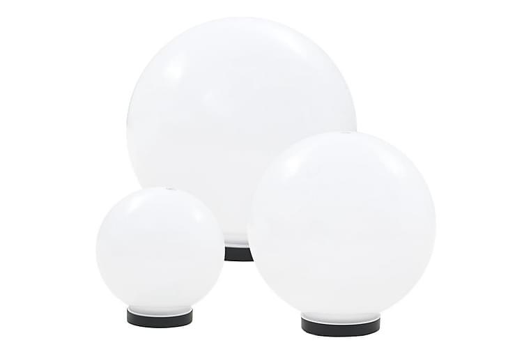 Globlampa LED set 3 st sfäriska 20/30/40 cm PMMA - Vit - Belysning - Utomhusbelysning - Stolplykta & grindlykta