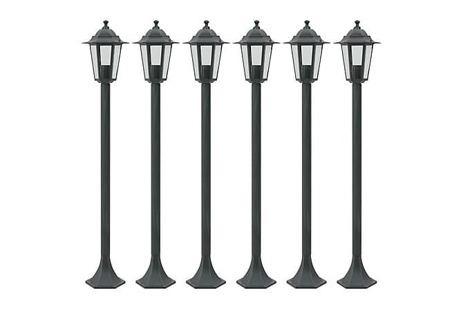 Lyktstolpar för trädgård 6 st E27 110 cm aluminium mörkgrön - Mörkgrön - Belysning - Utomhusbelysning - Utelampor