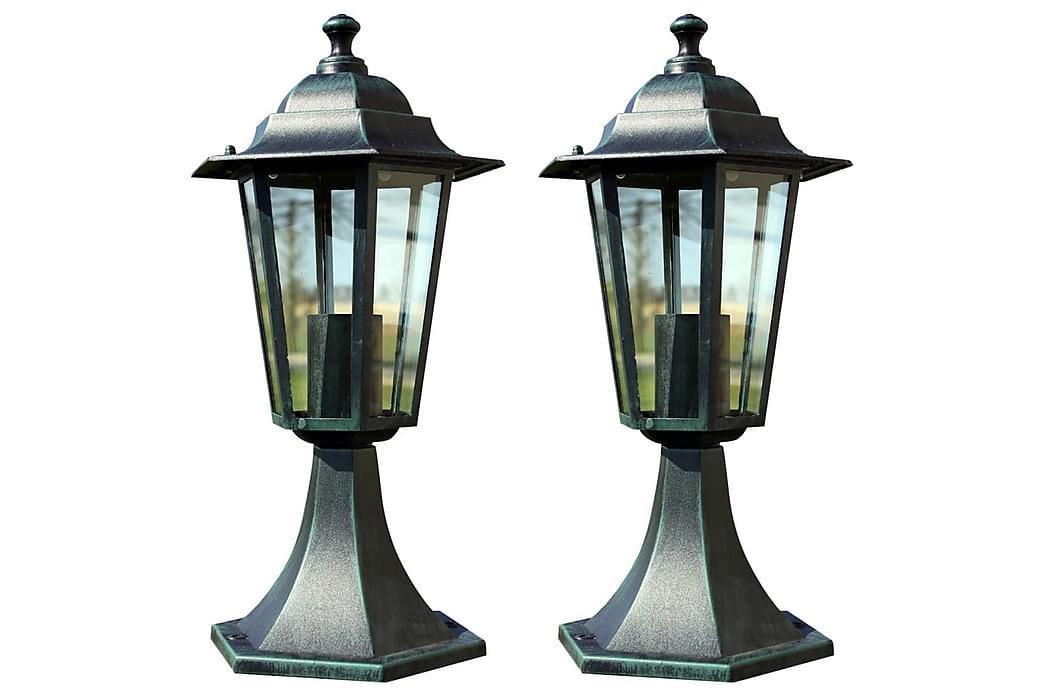 Trädgårdslampor 2 st mörkgrön/svart aluminium - Grön - Belysning - Utomhusbelysning - Utelampor
