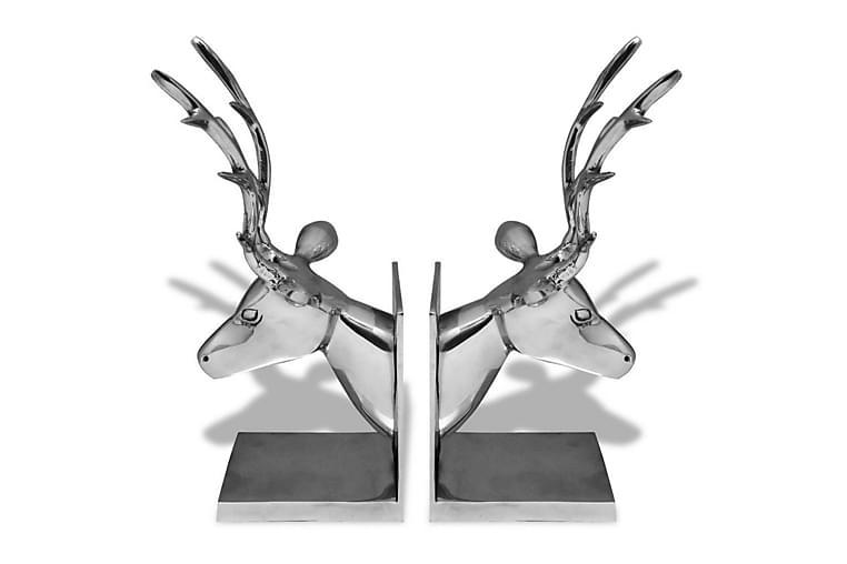 Bokstöd rådjur 2 st aluminium silver - Silver - Inredning - Dekoration - Inredningsdetaljer