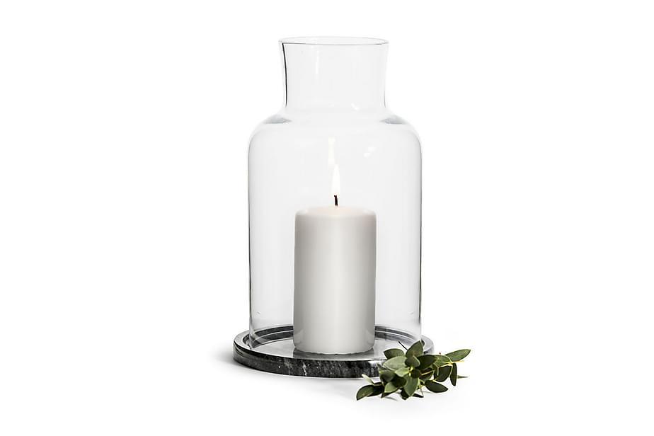 Ljuslykta Nature med Marmorfat Glas/Marmor