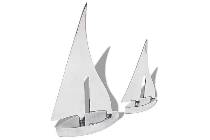 Segelbåtsdekoration 2 delar aluminium silver - Silver - Inredning - Dekoration - Inredningsdetaljer