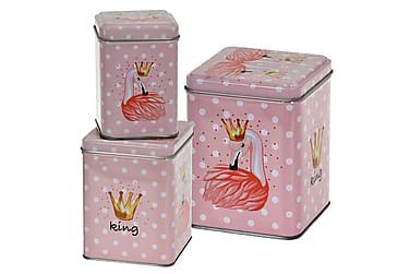 Burk Gillian Flamingo Fyrkantig Prickig Set om 3