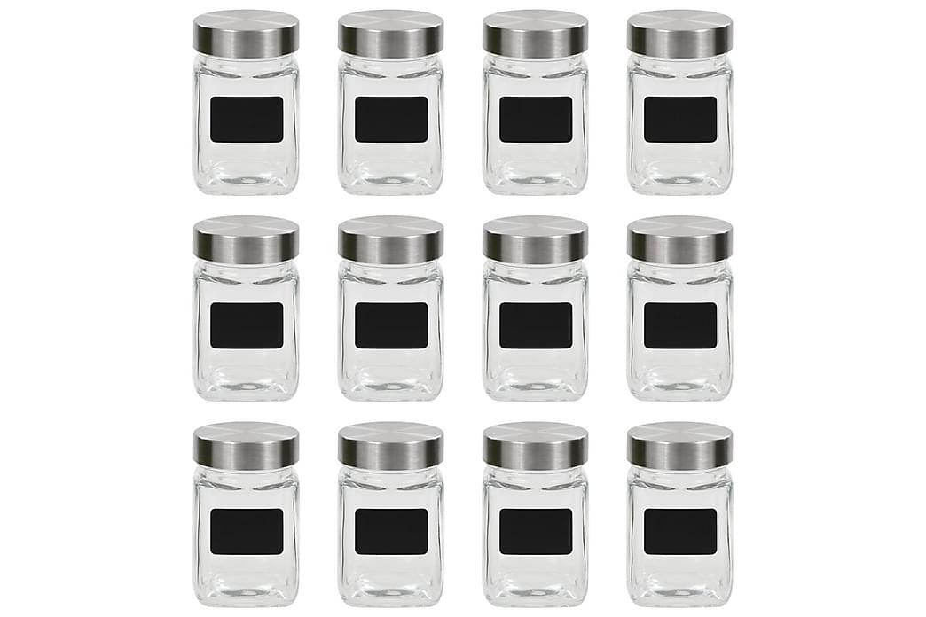Förvaringsburkar i glas med etiketter 12 st 300 ml - Transparent - Inredning - Förvaringslådor & korgar - Småförvaring