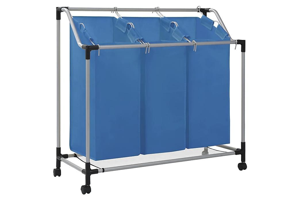 Tvättsorterare med 3 påsar blå stål - Blå - Inredning - Förvaringslådor & korgar - Tvättkorg