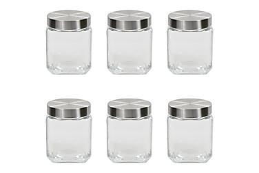 Förvaringsburkar i glas med silvriga lock 6 st 1200 ml