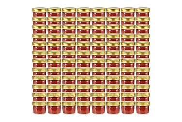 Syltburkar i glas med guldfärgade lock 96 st 110 ml