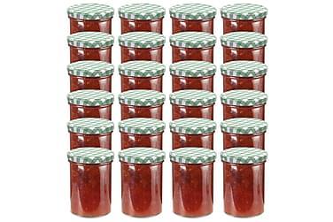 Syltburkar i glas med vita och gröna lock 24 st 400 ml