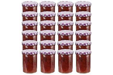 Syltburkar i glas med vita och lila lock 24 st 400 ml