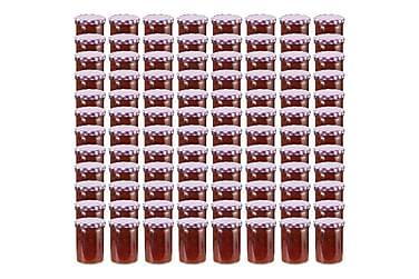 Syltburkar i glas med vita och lila lock 96 st 400 ml
