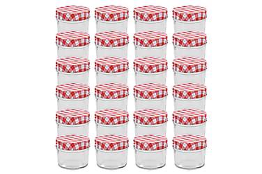 Syltburkar i glas med vita och röda lock 24 st 110 ml