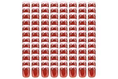 Syltburkar i glas med vita och röda lock 96 st 230 ml