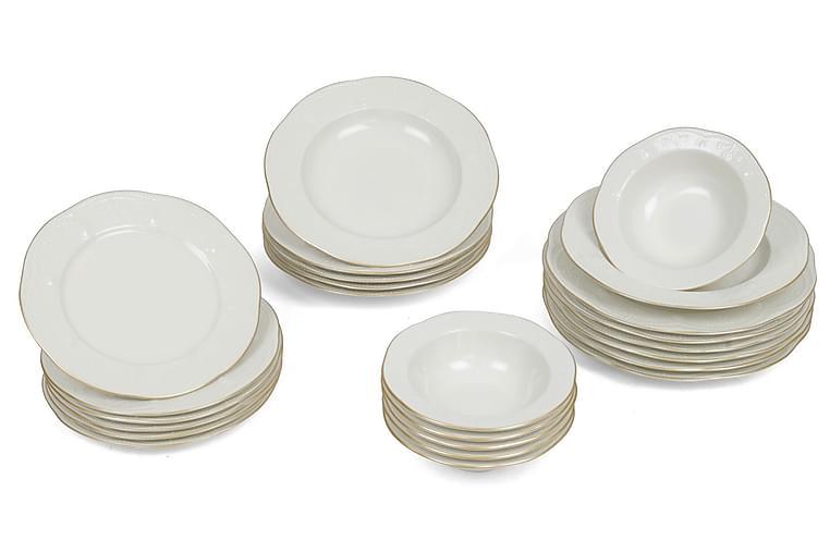 Middagsservis Kütahya 24 Delar Porslin - Creme Guld - Inredning - Husgeråd & kökstillbehör - Tallrikar