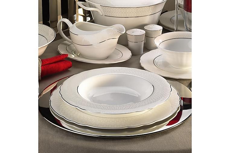 Middagsservis Kütahya 84 Delar Porslin - Vit Silver - Inredning - Husgeråd & kökstillbehör - Tallrikar