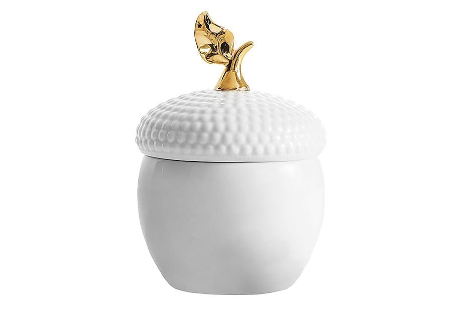 Skål Ekollon Vit/Guld Med lock