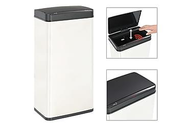 Soptunna automatisk sensor silver/svart rostfritt stål 80 L