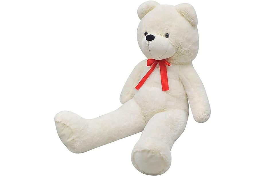 Nallebjörn XXL i vit plysch 175 cm