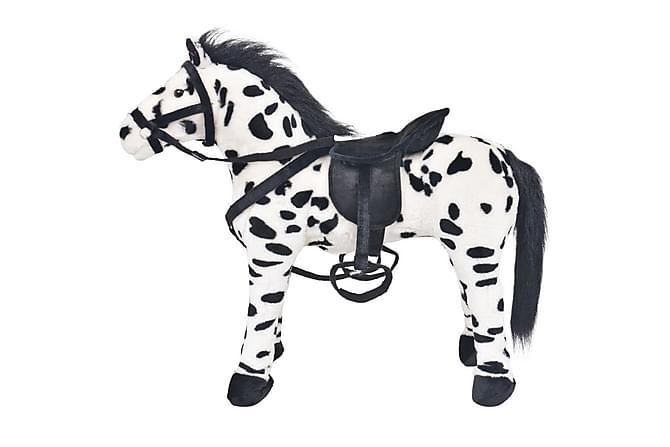 Stående leksakshäst plysch svart och vit XXL - Svart - Inredning - Inredning barnrum - Dekoration barnrum