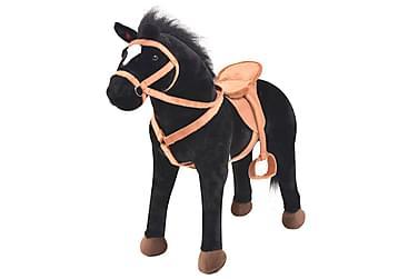 Stående leksakshäst plysch svart