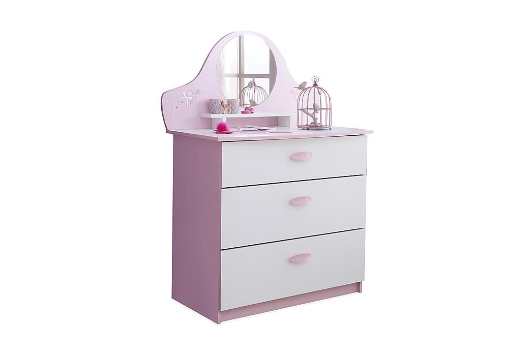 Byrå Macy Vit/Rosa - 3 Lådor + Spegel - Inredning - Inredning barnrum - Förvaring till barnrum