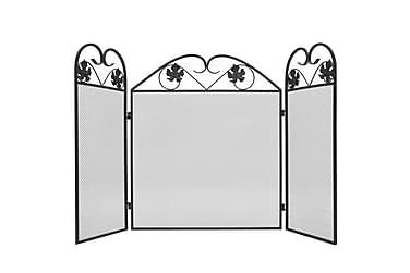 Gnistskydd m. 3 paneler järn svart