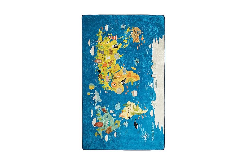 Barnmatta Worldmap 100x160 cm - Flerfärgad/Sammet - Inredning - Mattor - Barnmattor